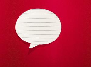 Speech bubble made of lined paper on a red background